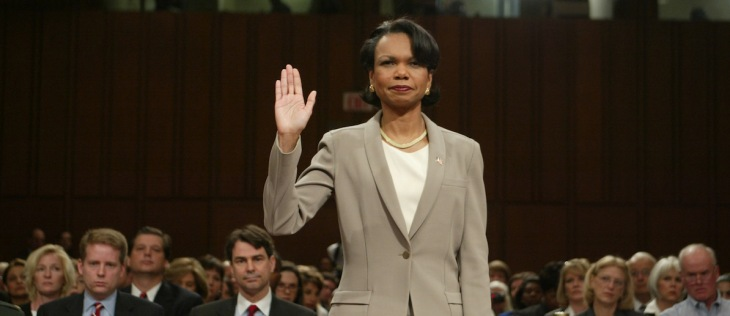 National Security Advisor Dr Condoleezza Rice is sworn in to testify.